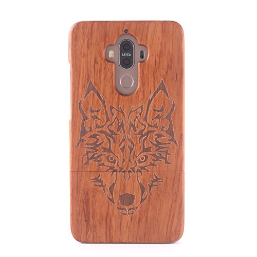 9 Naturholz (forepin Holz Tasche für Huawei Mate 9 reg; Handy Holzhülle Handgemachte Handy Rosewood Schutzhülle Cover mit Muster Design Hart Bumper Case aus Echtem Holz Cover, Wolfkopf)