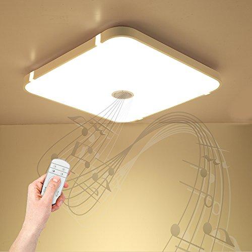 Dimmbare Deckenleuchte mit Fernbedienung und Bluetooth Lautsprecher 54W für Wohnzimmer, Schlafzimmer, Küche und Esszimmer (Weiß) JDONG 10507B-54W-LY