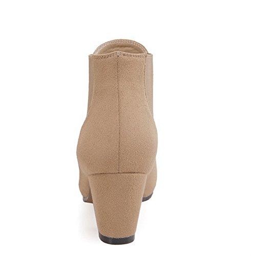 AgooLar Damen Ziehen Auf Mittler Absatz Mattglasbirne Rein Knöchel Hohe Stiefel Nackte Farbe