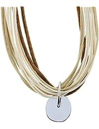 Collar Shor beige de varios hilos - Collar corto de cordón beige con colgante - Collar