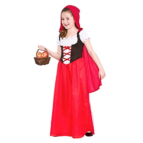 GIRLS LONGER LENGTH RED RIDING HOOD FANCY DRESS COSTUME (Red Hood Girl Kostüm)