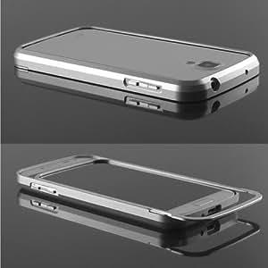 Samsung Galaxy S4 i9500 CNC Aluminium Case Metall Bumper Cover Hülle Alu Silber i9505 inkl. Original safegoods® Displayschutzfolie