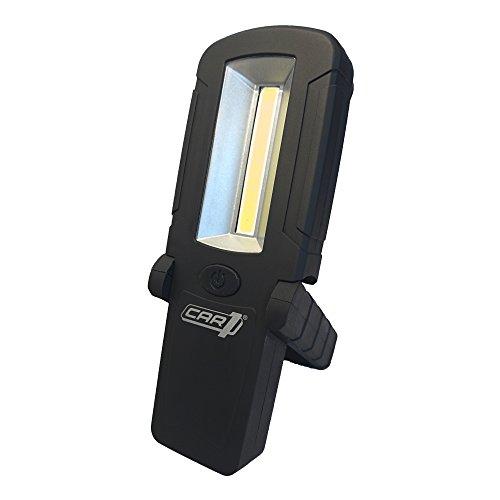 CAR1®   LED-Taschenlampe mit Haken und ausklappbarer magnetischer Halterung inkl. Batterien