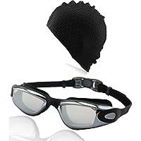 »AF-1600m« occhialini da nuoto + cuffia. 100% protezione raggi UV + anti-appannamento. Silicone di pregiata (Womens Hard Cap)