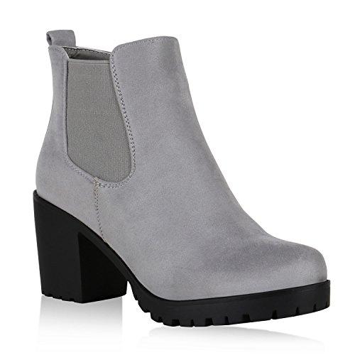 Damen Stiefeletten Chelsea Boots Blockabsatz Profilsohle Schuhe Hellbraun  Velours