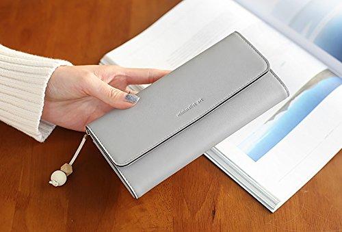 CLOTHES- Lady Wallet Sezione lunga delle due pieghe alla moda piccole nappe fresche Borsa grande borsa portafogli studenti ( Colore : Pink#1 ) Grigio
