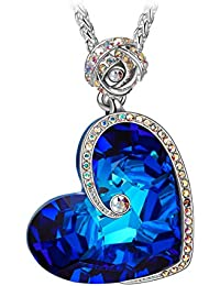 Susan Y ❤Valentines Gifts❤ Rose Heart Women Necklace Aphrodite Pendant Crystals from Swarovski, Engraved with I Love You, Elegant Jewellery Box, Every Special Moment, 45+5cm