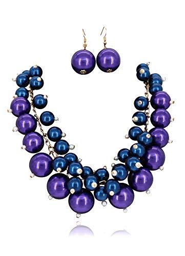 Stammes Kostüm Sammlung - Modeschmuck Simulierte Perlenperle Schwarz Rot Perlen Schicht Frauen Halskette und Ohrringe Set (Royal Blue x Purple)