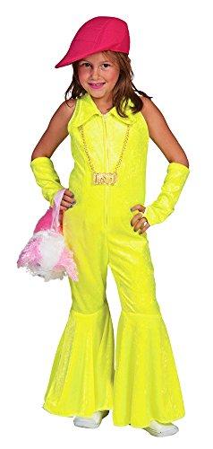 Hippie Girl Disco Anzug für Mädchen - Neon Gelb Gr. 140 - Perfekt zum 80er Jahre Retro Kostüm für Show und Fasching (80er Jahre Anzug Kostüm)