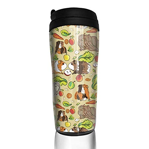Travel Coffee Mug Guinea Pigs Pets Food 12 Oz Spill Proof Flip Lid Water Bottle Environmental Protection Material ABS