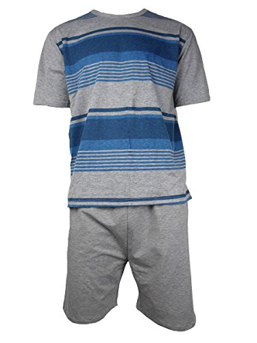 Herren Freizeit PJ Schlafanzüge Sets Nachtbekleidung PJ 2-teilig Pyjama Set Herren Größe M-XXL - Heather Grau / Blau (S/S Kurz), Herren, XS (Pj Baumwolle Herren)