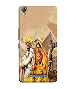 PrintVisa Designer Back Case Cover for Micromax Canvas Juice 3+ Q394 :: Micromax Canvas Juice 3 Plus Q394 (The Lovely Rajasthani Couple And The Camel In Deset)