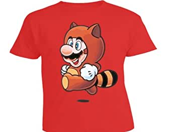 DTG Clothing Retro Mario Rackoon Super Mario Brothers 3 Unisex - Kinder T Shirts - 9-11 Jahre - Rot