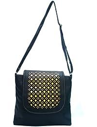 Black Color Laser Cut Sling Bag For Girls