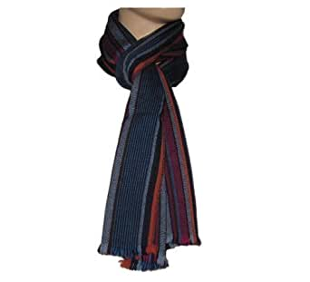 PAUL SMITH MEN STRIPE SCARF NAVY, VIOLET WOOL MADE IN ITALY (Navy)