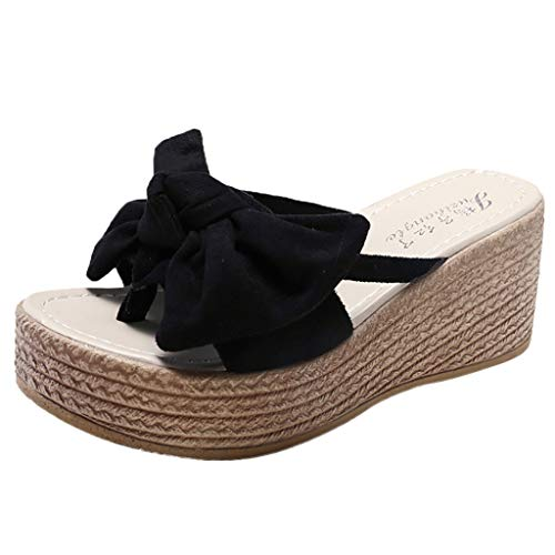 PRINCER Wedges Open Toe Butterfly-Knot Beach Shoes Roman Slippers Sandals Platform Sandals Low Wedge Open Toe Summer Flats Slip On Espadrille Shoes