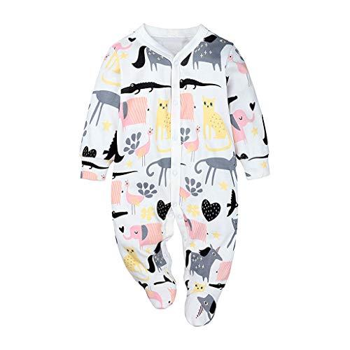 LABIUO Nouveau Bébé Pyjama Filles Garçons Combinaison Coton Barboteuse à Manches Longues Modèle de Dessin Animé Bouton Grenouillère Bébé Vêtements Pas Cher pour 0-24 Mois(Rose,80)
