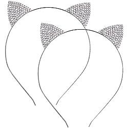 Hotop 2 Piezas de Diadema de Orejas de Gato de Metal Diamante de Cristal Banda de Cabeza para Mujeres y Chicas Accesorios de Pelo