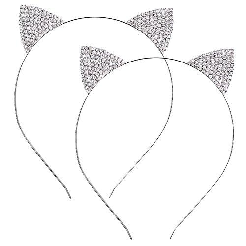 2 Packung Kristall Rhinestone Metallkatze Ohr Stirnband Haar Bänder Headwear für Damen Mädchen Haar Zusätze