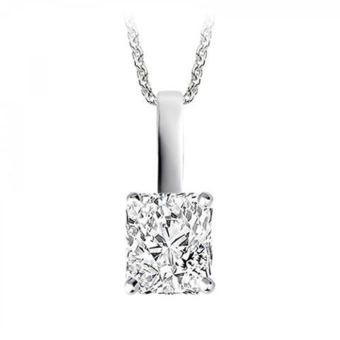 0.48 Carat F/VVS1 Radiant Certified Diamond Solitaire Pendant in Platinum