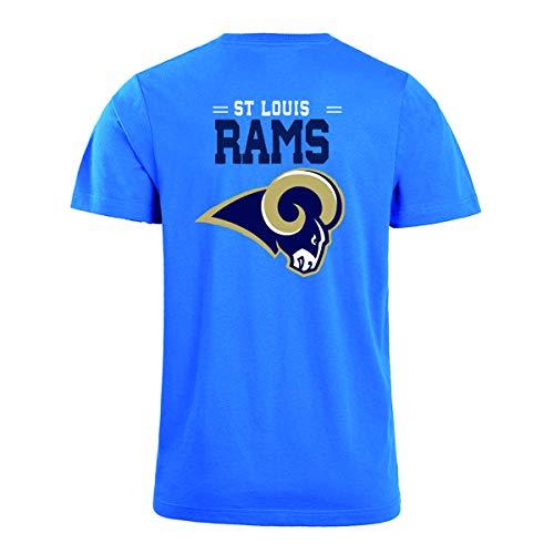 Herren O-Neck Kurzarm Buchstaben drucken St. Louis Rams einfarbig Sommer T-Shirts(XL,Blue)