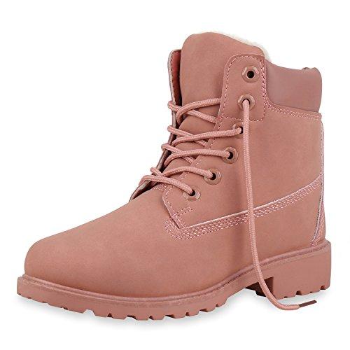SCARPE VITA Damen Stiefeletten Warm Gefütterte Worker Boots Outdoor Schuhe 153943 Rosa Warm Gefüttert 39