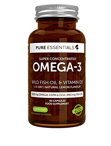 Hohe Omega 3 (Pure Essentials Hohe Konzentration Omega-3 Wildes Fischöl & Vitamin D3 | 600mg Omega-3 EPA & DHA | 893 mg Fischöl | 1 pro Tag | Zitronengeschmack | 60 Kapseln)