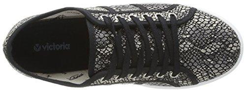 Victoria Blucher Reptil Lona, Boots compensées femme Multicolore (Negro)