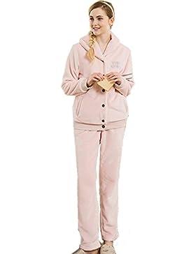 Manica lunga flanella con revers pigiama vestaglia Inverno pigiameria Ultima donna che può essere indossato all'aperto...