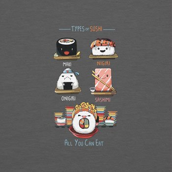 NERDO - Types Of Sushi - Herren T-Shirt Grau ...