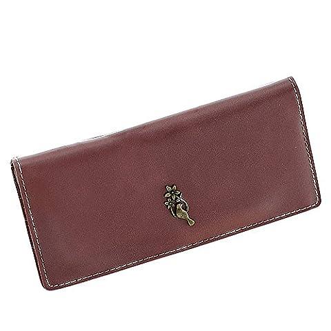 Woolala Women Love Bird Wallet Thin Bifold Soft Vegan Leather Clutch Long Purse Elegant Design for Party, Shopping, Dark Red