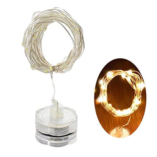 LEDMOMO 2m 20 LEDs Unterwasser-Kupferdraht-Schnur-Lichter Knopf-Batterie angetrieben für Weihnachten Hochzeits-Dekoration (warmes Weiß) (Halloween Leuchtet Fenster)