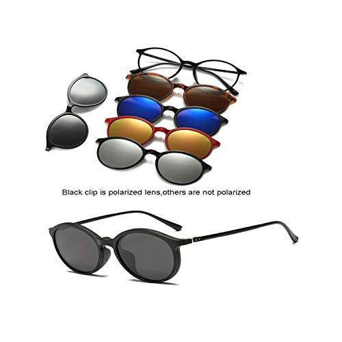 FGRYGF-eyewear2 Sport-Sonnenbrillen, Vintage Sonnenbrillen, 5 Lenes Magnet Sunglasses Clip Mirrored Clip On Sunglasses Clip On Glasses Männer Polarized Clip Custom Prescription Myopia 2223A