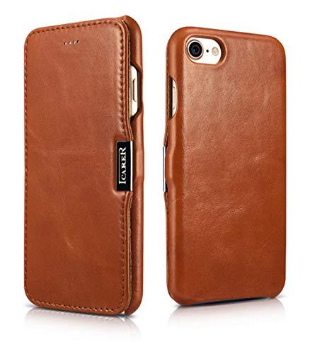 Luxus Tasche für Apple iPhone 8 und iPhone 7 (4.7 Zoll) / Case mit Echt-Leder Außenseite / Schutz-Hülle seitlich aufklappbar / ultra-slim Cover / Etui im Vintage Look / Braun