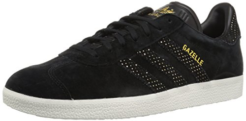adidas Originals Women's Gazelle W Sneaker Black/Gold Metallic, 9.5 M US