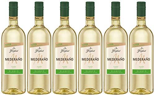 Mederaño Blanco Wein 1 l (6 x 1l) l Cuvée l  Spanischer Wein l halbtrocken l Rebsorten aus Castilla La Mancha