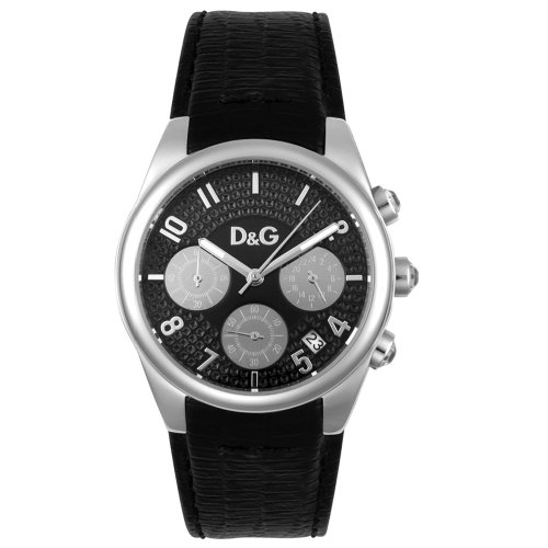 D&G Dolce&Gabbana Women's Quartz Watch with Black Dial Analogue Display and Black Leather Strap DW0259 D&G