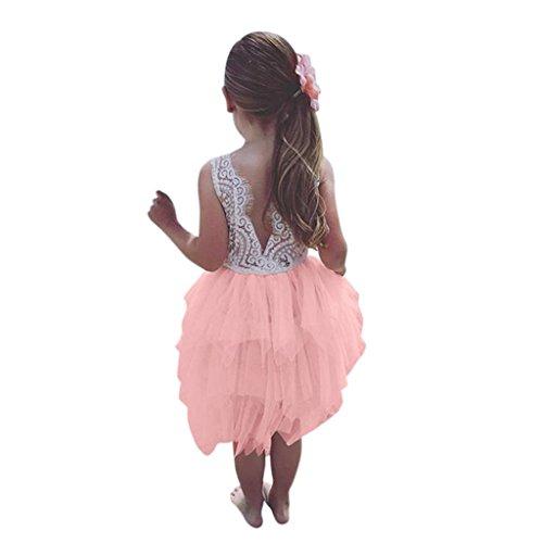 Longra Mädchen Kleid Festliche Kleider Ärmellos Spitzenkleider Tutu Tüll-Röcke Kleid Baby Kinder Sommerkleid Prinzessin Festzug Partykleid Urlaub Hochzeit Brautjungfer Kleid (Rosa, 120 5Jahre)