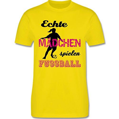 Fußball Echte Mädchen spielen Fußball Schwarz Herren Premium TShirt Lemon  Gelb