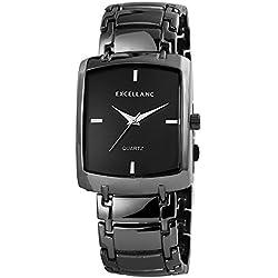Men's Quartz Watch Black Titanium Look Analogue Metal Wristwatch