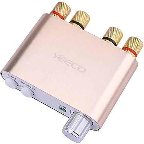 Yeeco La chaîne hi-fi Mini Bluetooth Amplificateur 50W + 50W DC 9-24 V Double canal Sans fil Bluetooth Stéréo Audio Récepteur Puissance Amp ampli Planche avec EUR-Type Source de courant Adaptateur pour Accueil Sonner Audio Système Ordinateur Portable (Or)