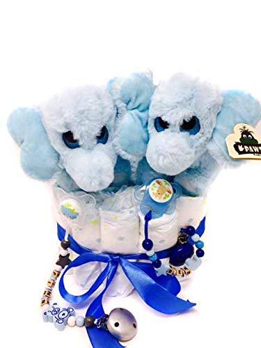 Elfenstall Windeltorte mit Spielzeug und Schnullerkette als tolles Geschenk/Geschenkset zur Geburt oder Taufe auf Wunsch mit Name des Babys (Zwilling Elefant)