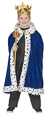 Umhang zum König Kostüm für Kinder - Blau Gr. 116 (King Arthur Kostüm Kind)