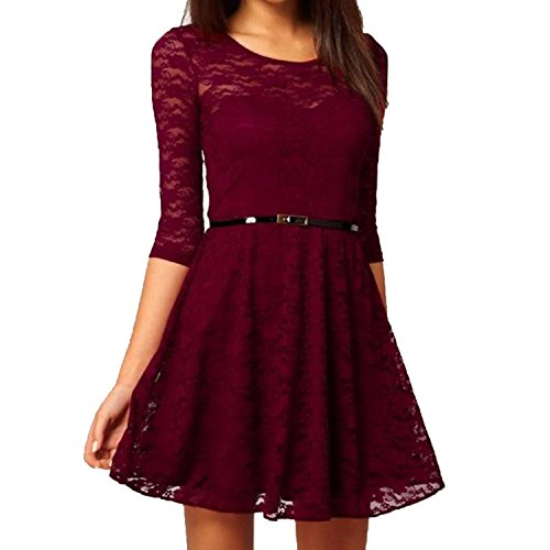 Nonbrand Damen Cocktail Kleid Rot rojo (Maroon) 36