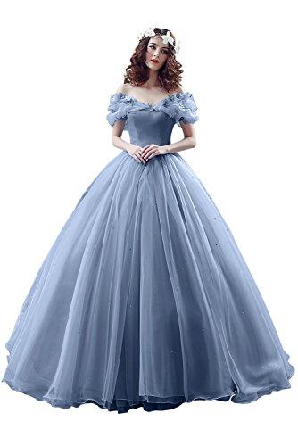 Victory Bridal Wunderschoen Himmel Blaues Kurzarm Abendleider Quincenera Ballkleider Lang Promkleider Cinderella -38 Himmel Blau (Com-bewertungen Kaufen, Kostüme)
