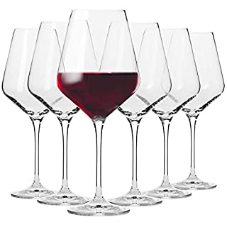 Krosno Red Wine Glasses | Set of 6 | 490 ML | Avant-Garde Collection | Crystal Glass | Perfect for Home, Restaurants and Parties | Dishwasher and Microwave Safe