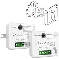 Alexa Mini Interruptor WiFi, Maxcio Interruptor Luz Inalámbrico Inteligente, Conmutador WiFi Temporizador Control de Smart Life, Compatible con Echo, Dot, Google Home(2 Pack)
