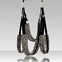 Adulto sexy Swing interior yoga Swing ajustable Negro correa ancha de leopardo para amantes de parejas, estilo de felpa actualizado