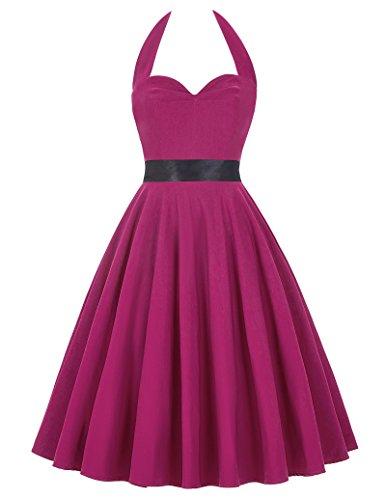 50s Retro Vintage Rockabilly Kleid Neckholder Festliches Kleid Petticoat Kleid CL8950-4(Purpurn)