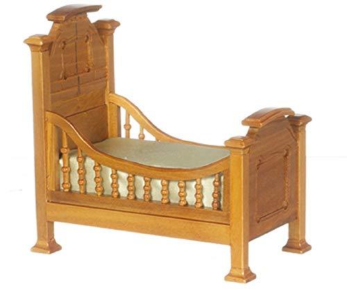 Puppenhaus Miniatur Kinderzimmermöbel Walnuss Renaissance Jugend Bett Baby Kinderbett